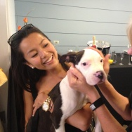 Tiffany Mui of West Hollywood checks out one of NKLA's pets that is up for adoption.