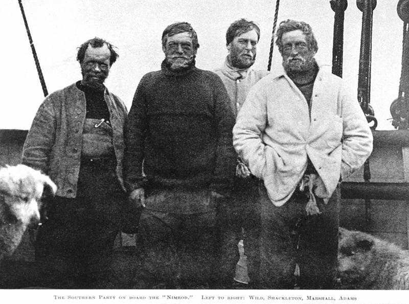 Left to right - Wild, Shackleton, Marshall, Adams. The four members of the party that set out to attempt to become the first to reach the South pole, they were defeated by the weather, but also a lack of supplies and suitable equipment just 97 miles from the South Pole, a point they reached on January the 9th 1909. Ernest Shackleton (1874-1922) British Imperial Antarctic Expedition