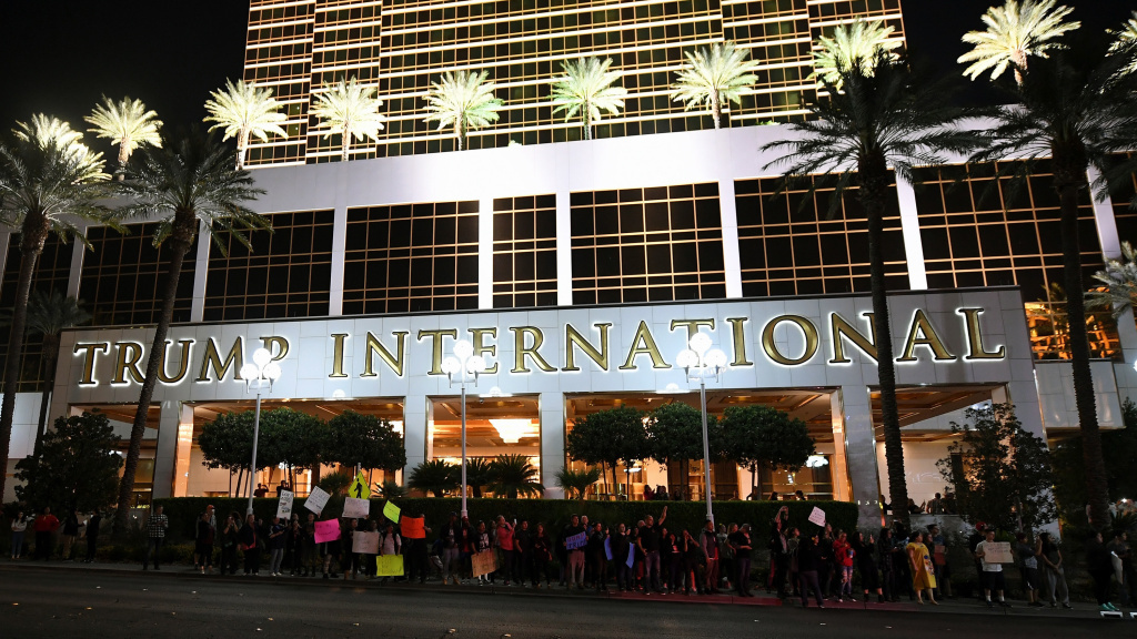 Anti-Donald Trump protesters stand in front of the Trump International Hotel & Tower in Las Vegas in November 2016.