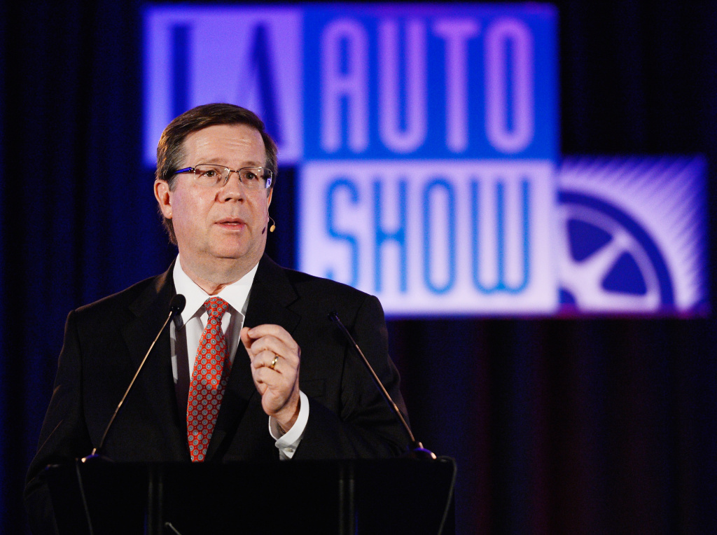 Jim Lentz, President  and CEO Toyota Motor Sales, USA, delivers a keynote speech during the Los Angeles Auto Show. Lentz was named Tuesday to a new position, making him the highest-ranking American executive at the automaker.