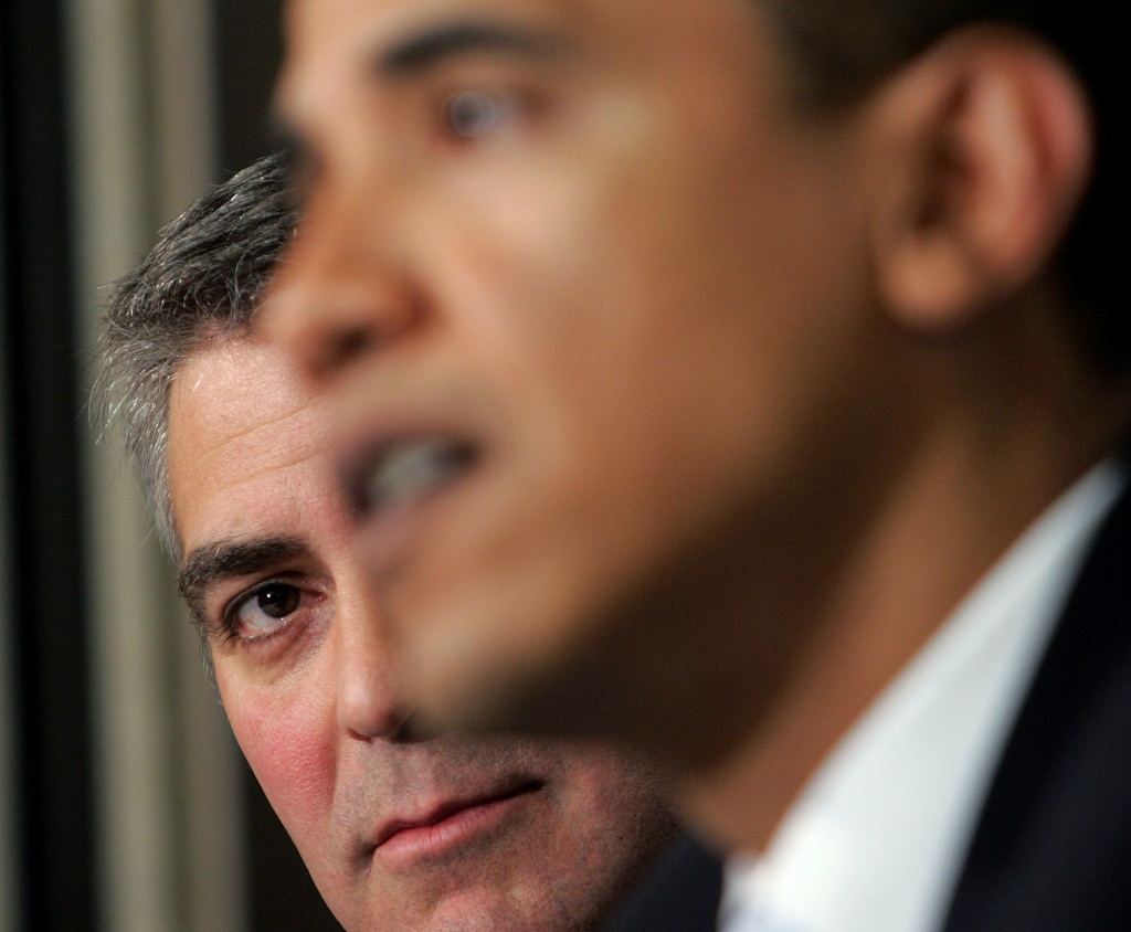 George Clooney and Barack Obama discussing Darfur at The National Press Club Newsmaker's Program on April 27, 2006 in Washington, DC.