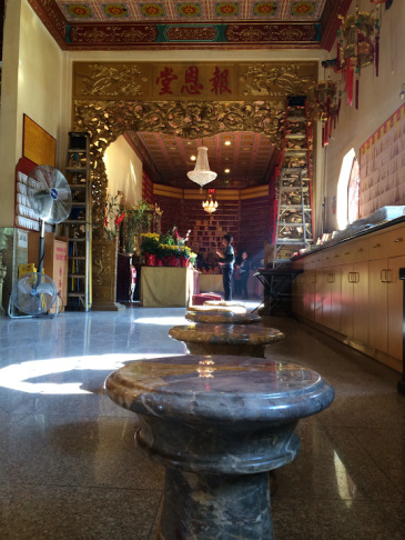 View inside the Chua Thien Hau Temple in LA's Chinatown.