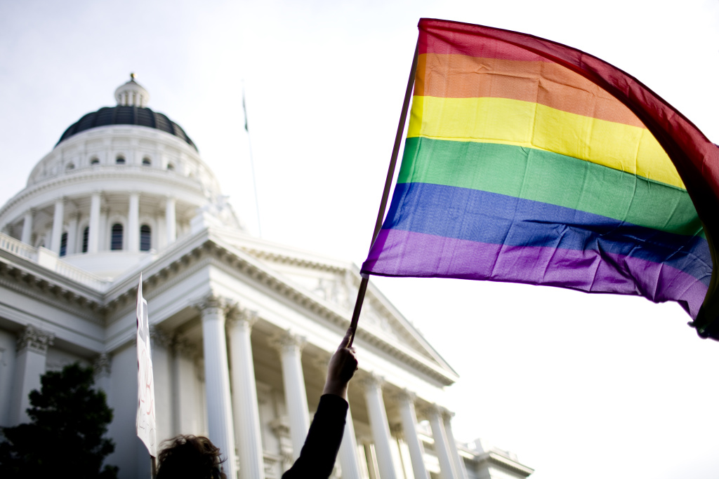Supporters of gay marriage rally on the steps of the State Capitol November 22, 2008 in Sacramento.