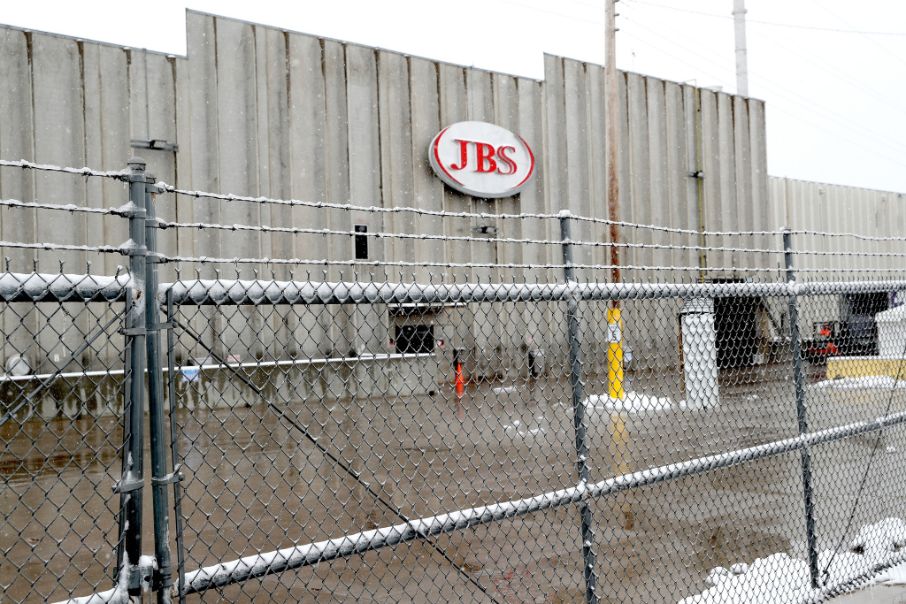 The Greeley JBS meat packing plant sits idle on April 16, 2020 in Greeley, Colorado.