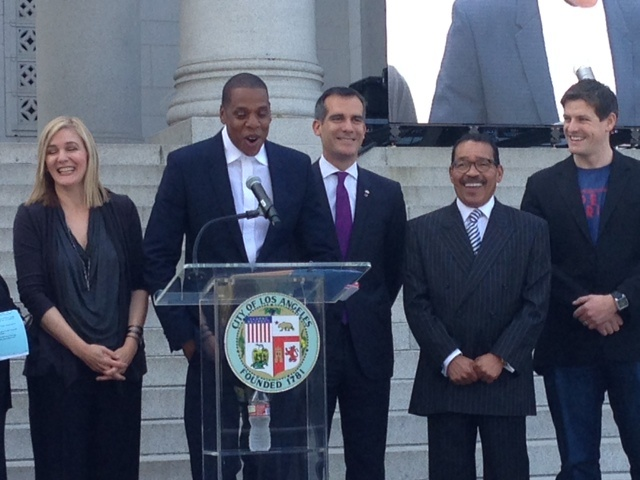 Rapper Jay-Z announces the Made in America festival on the steps of Los Angeles City Hall.