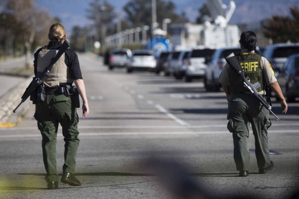San Bernardino County Sheriff's deputies on Wednesday, Dec. 2, 2015 during an active shooter situation following a mass shooting at the Inland Regional Center.