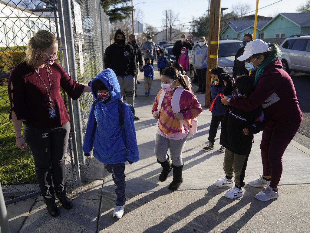Students attending school in Santa Clarita, Calif., last week. California Gov. Gavin Newsom announced Monday that schools that offer in-person learning by the end of March will be eligible for a portion of funds totaling $2 billion.