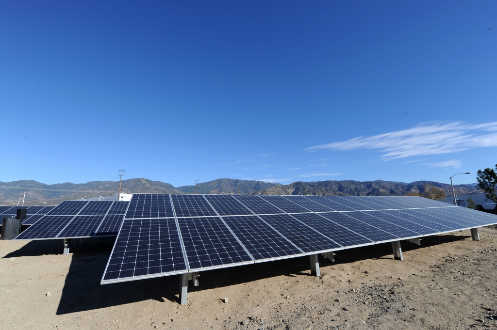 Solar panels at the Mars Petcare San Bernardino Solar Garden Unveiling on December 12, 2017 in San Bernardino, California.