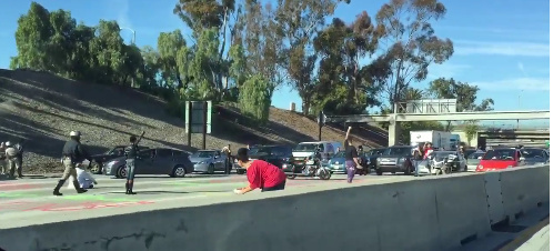 Nine protesters were arrested Wednesday, December 23, 2015 for blocking traffic on one of the nation's busiest freeways, on one of its busiest travel days.
