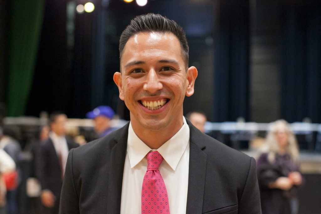 Raymond Meza at the 34th Congressional District Candidate Forum at Eagle Rock High School on Wednesday, Mar. 23, 2017.