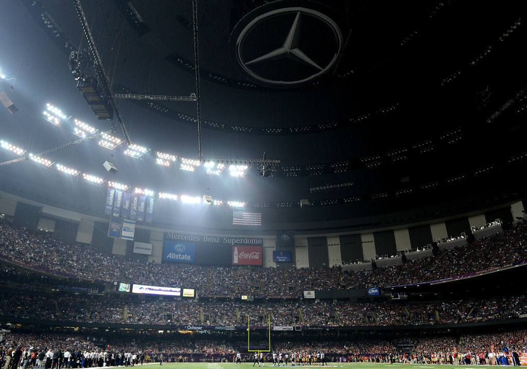 A general view of the Mercedes-Benz Superdome after a sudden power outage that lasted 34 minutes in the second half during Super Bowl XLVII between the Baltimore Ravens and the San Francisco 49ers at the Mercedes-Benz Superdome on February 3, 2013 in New Orleans, Louisiana.