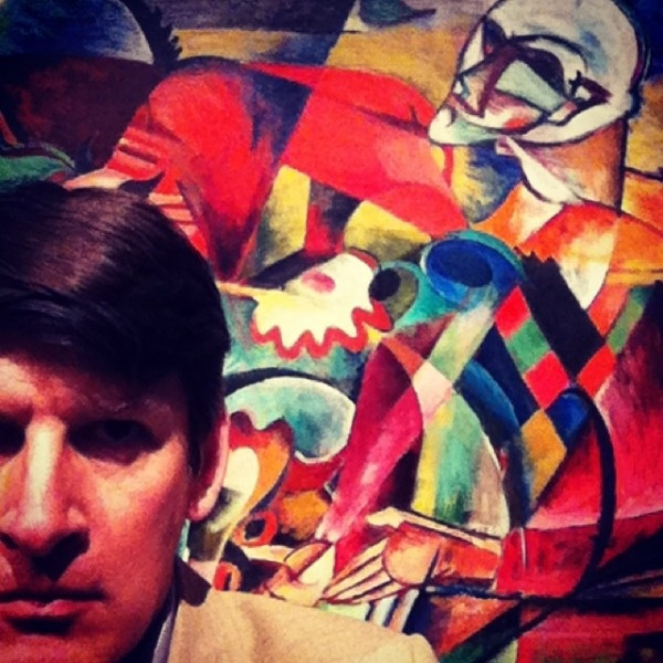 Rabe's selfie at LACMA's Expressionism in Germany and France exhibition.