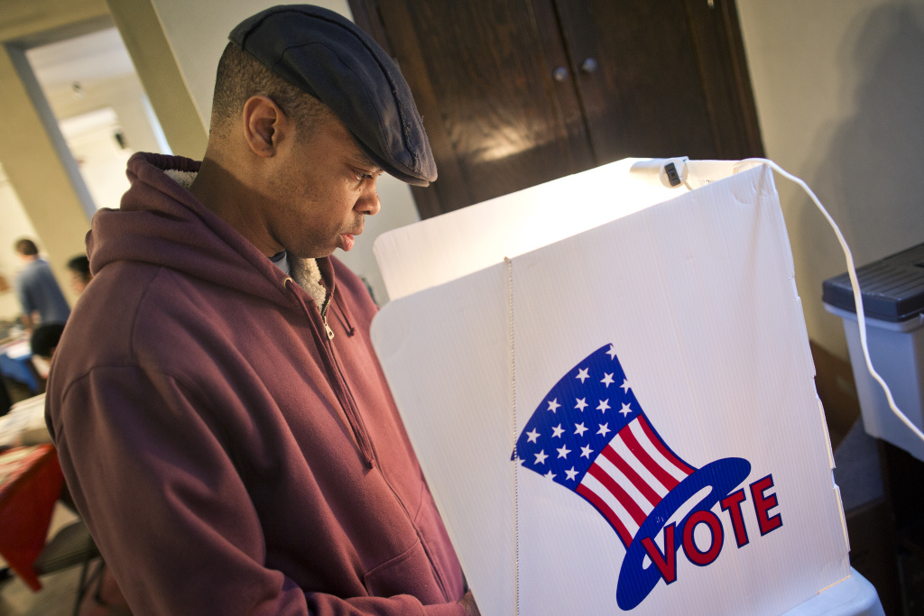 Al Gordon votes during the Los Angeles County primary election on Tuesday, March 3, 2015 at Saint Mary of the Angels in Los Feliz.