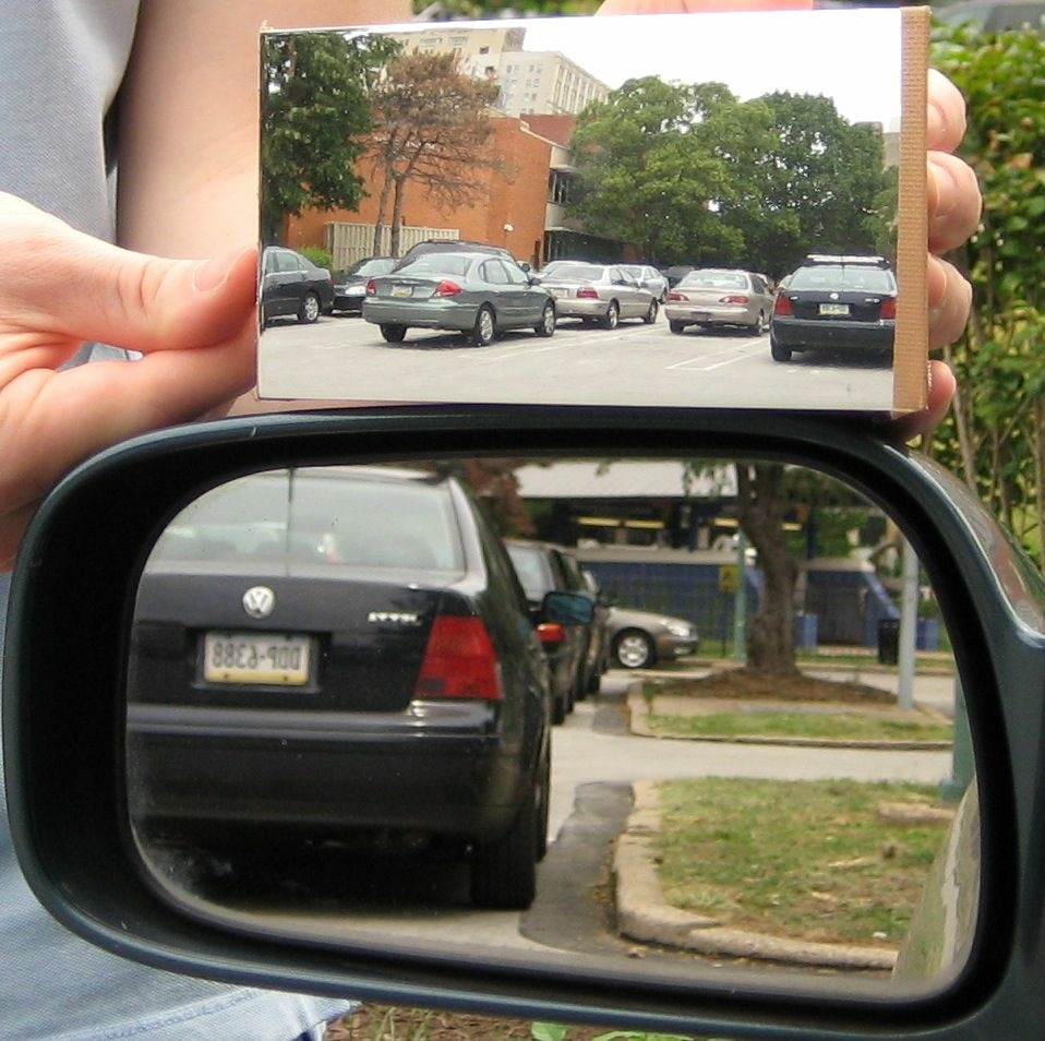 A demonstration of the difference between a standard side mirror and Drexel University's Dr. R. Andrew Hicks' newly patented mirror that eliminates blind spots.
