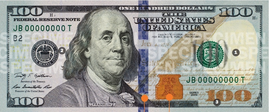 The new high-tech U.S. $100 bill is slated to debut on Oct. 8, 2013, when the Federal Reserve rolls  armored trucks from its regional banks around the country to banks, savings and loans and other financial institutions. New features are designed to thwart counterfeiters.