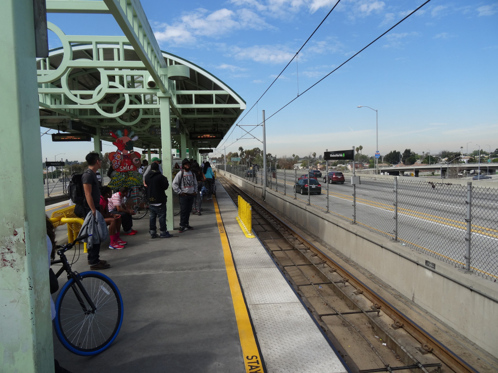 File: The Willowbrook Station along L.A. Metro's Green Line.