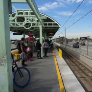 The Willowbrook Station along LA Metro's green line. This station is located above ground between the lanes of the Century Freeway.