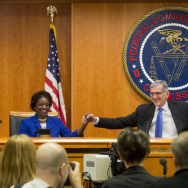 """The Democratic majority of the Federal Communications Commission voted to approve new """"net neutrality"""" rules in February 2015, prompting a court challenge from Internet providers."""