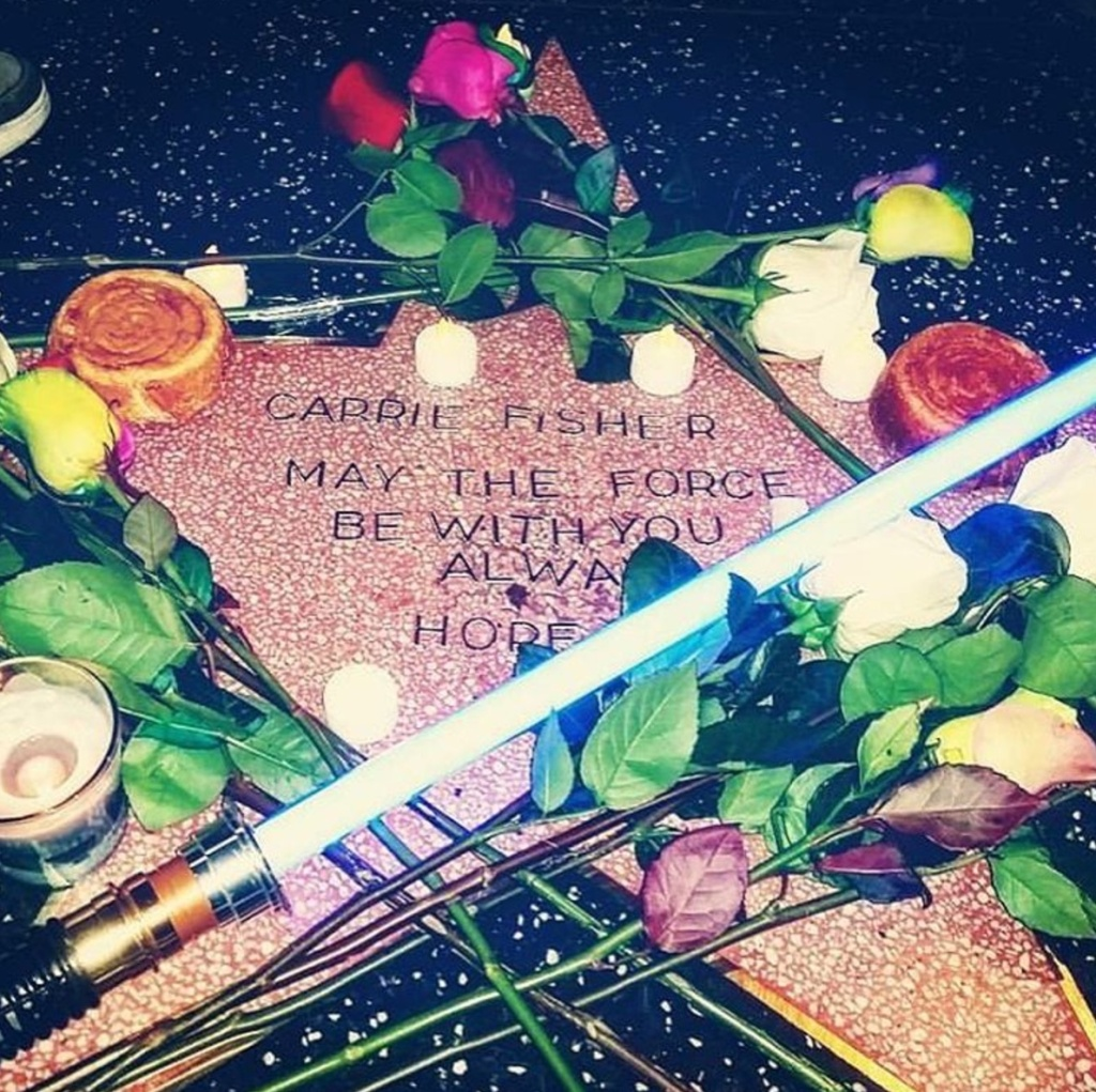 A temporary tribute to Carrie Fisher on the Hollywood Walk of Fame appeared Tuesday. Fisher died Tuesday in Los Angeles. She was 60.
