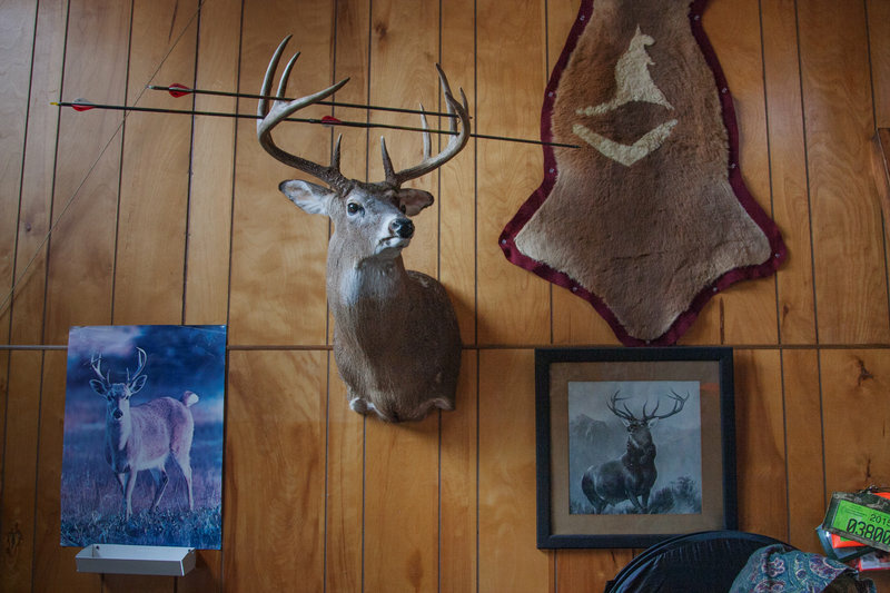 There are stories behind every deer head and set of antlers at Tom Wrasse's hunting shack. It's rare, he says, to see big bucks in this area anymore though.