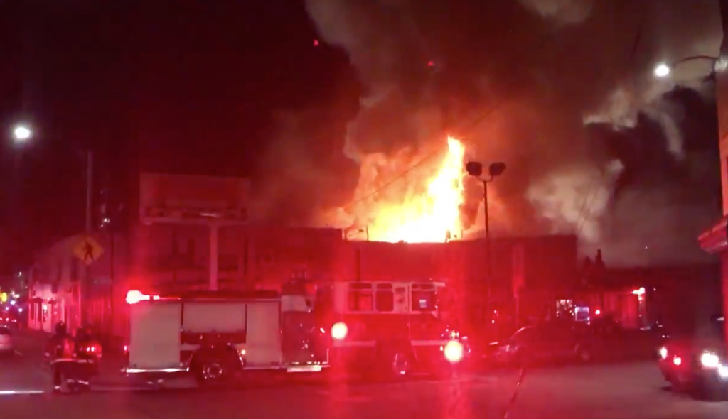 This warehouse fire broke out during a concert and dance party in Oakland, California, on Saturday, Dec. 3, 2016.