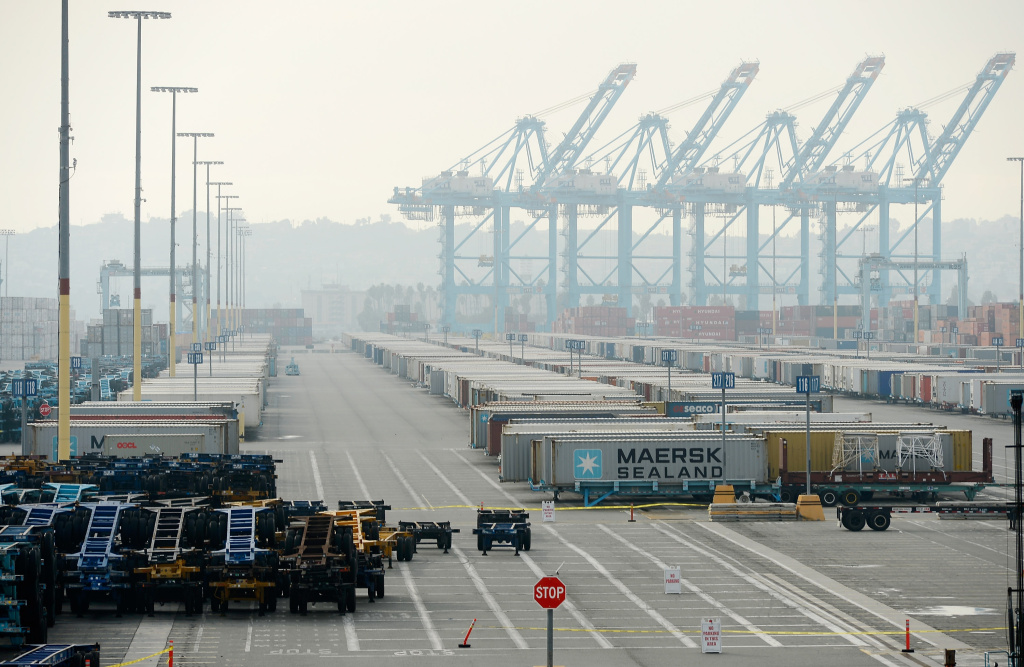 The Maersk cargo container terminal is idle at Los Angeles harbor as an eight-day strike by International Longshore and Warehouse Unions continues at busiest seaport in the nation on December 4, 2012 in Los Angeles, California.