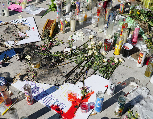 The remnants of a memorial for the victims of the Las Vegas mass shooting.