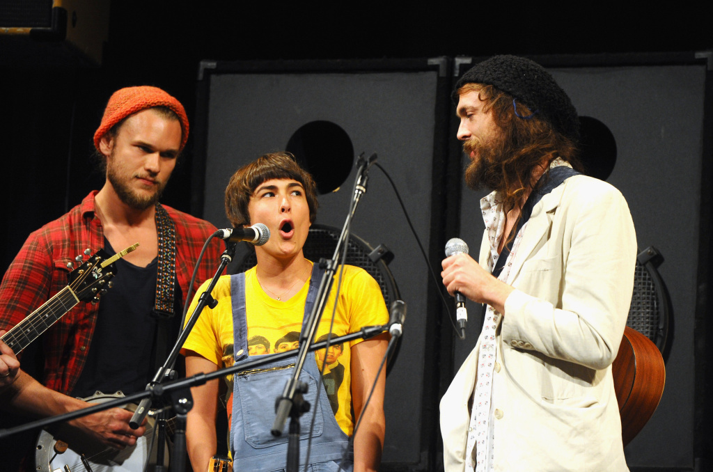 AUSTIN, TX - MARCH 17:  Musician Alex Ebert of Edward Sharpe and the Magnetic Zeros (R) performs onstage at the BIG EASY EXPRESS Performance during the 2012 SXSW Music, Film + Interactive Festival at Paramount Theatre on March 17, 2012 in Austin, Texas.