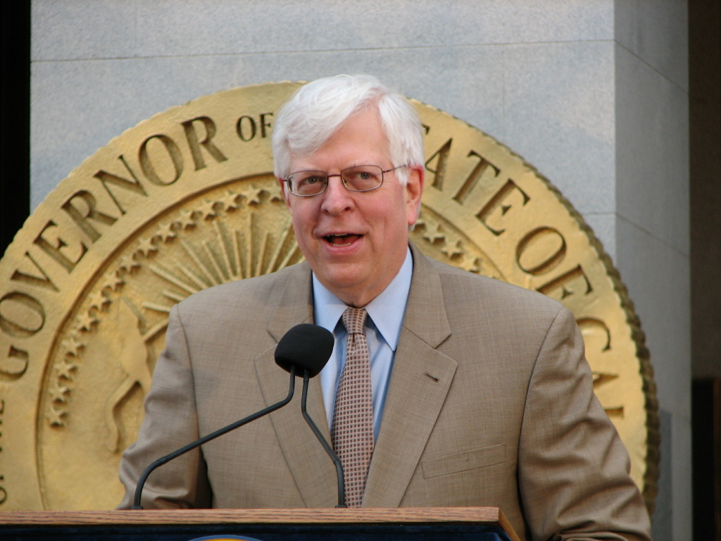 Dennis Prager at the menorah lighting at the California Capitol Building.