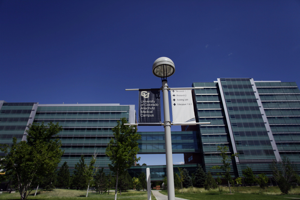 Buildings stand on the University of Colorado Anschutz Medical Campus July 22, 2012 in Aurora, Colorado.