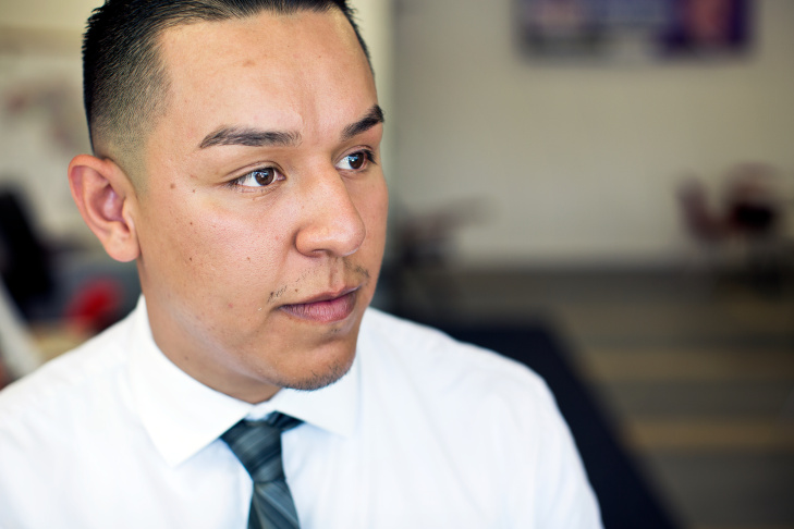 Ivan Ceja, 22, first received approval for Deferred Action for Childhood Arrivals in October 2012. Now, Ceja has a job working for George McKenna's campaign for school board.