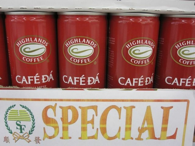 Buzz guaranteed: Cans of Vietnamese-style coffee on sale at a Beach Boulevard supermarket, September 2010
