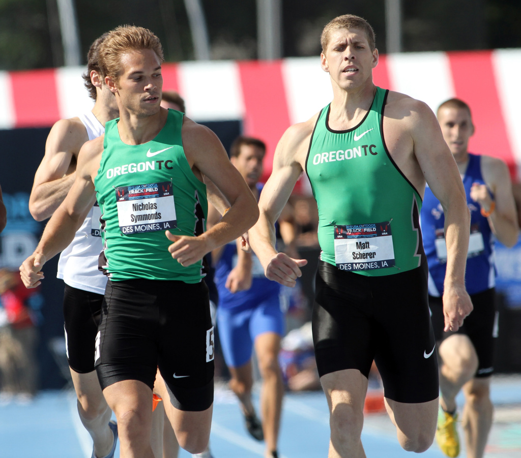 Nick Symmonds, left, looks toward teammate Matt Scherer as the pair finish a first-round heat of the 800-meter at the USA Outdoor Track and Field Championships, Thursday, June 24, 2010, at Drake University in Des Moines, Iowa.