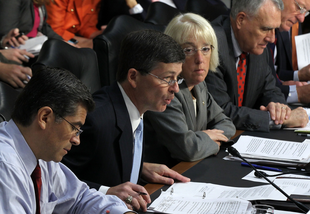 Committee co-chair Rep. Jeb Hensarling (R-TX) (2nd L) speaks as (L-R) Rep. Xavier Becerra (D-CA), co-chair Sen. Patty Murray (D-WA), Sen. Jon Kyl (R-AZ), and Sen. Max Baucus (D-MT) listen during a hearing before the Joint Deficit Reduction Committee.