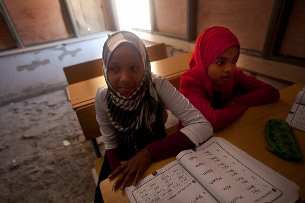 An English class in the Tawargha refugee camp.
