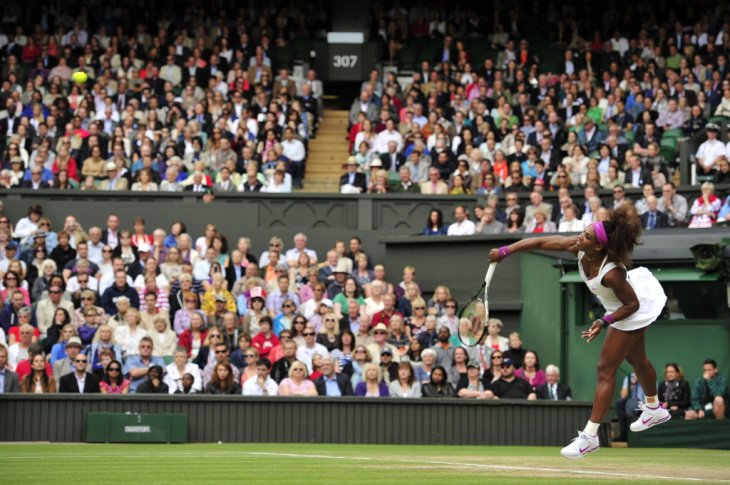 US player Serena Williams serves during
