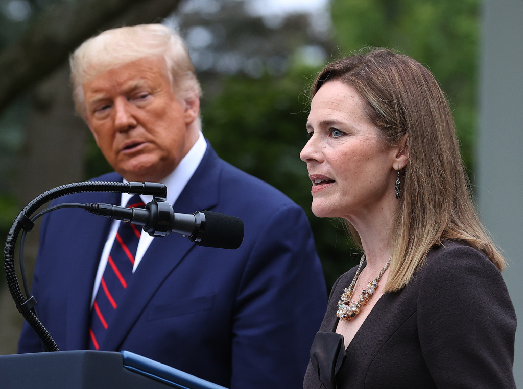 Seventh U.S. Circuit Court Judge Amy Coney Barrett speaks after U.S. President Donald Trump announced that she will be his nominee to the Supreme Court.