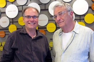 Academy Award-winning singer, songwriter and composer Randy Newman (R) with AirTalk host Larry Mantle (L).