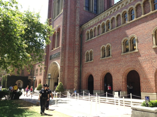 The first day of the L.A. Times Festival of Books got underway at USC under sunny skies and an increased police presence