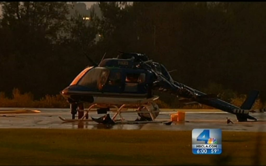 A screenshot of one of the broken choppers at rest on the Pasadena Police Department helipad in Altadena, CA.