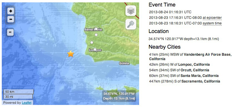 USGS map and information an earthquake Friday, Aug. 23, 2013.