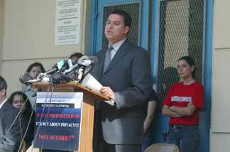 File photo: Jose Huizar at a news conference to oppose Proposition 54 outside Garfield High School September 8, 2003 in Los Angeles.