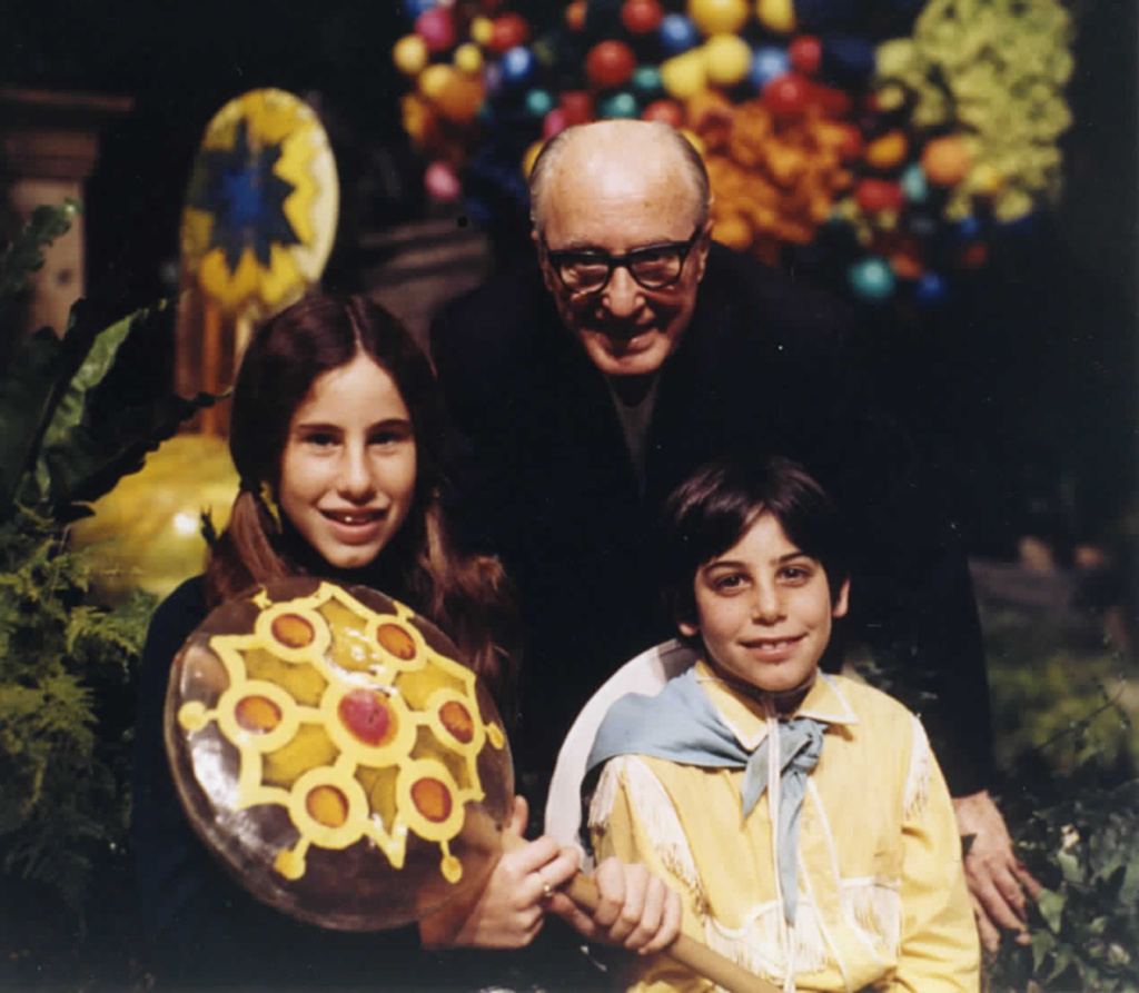 Madeline and Peter Stuart in 1970, with grandfather Edgar Solomon, on the set of