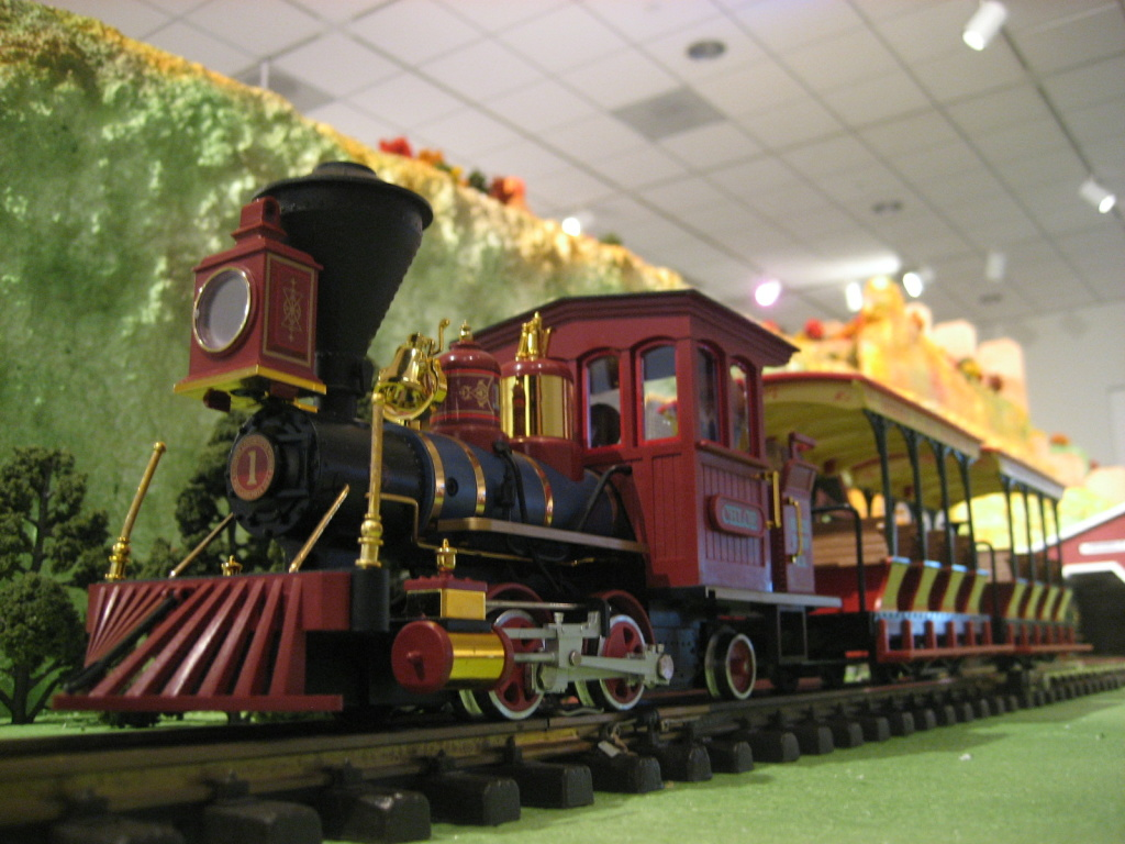 The holiday model railroad display at the Nixon Library includes all sorts of toy trains.