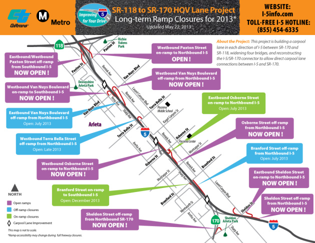 Stay up to date with the on-ramp and off-ramp closures around SR118 to SR170 along the 5.