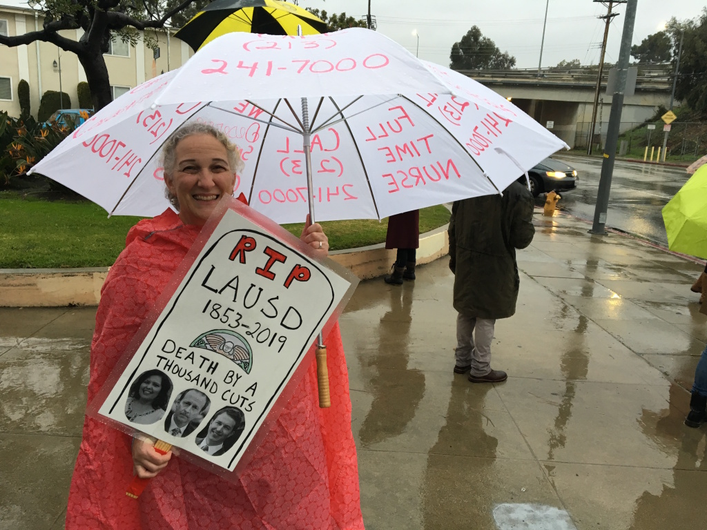 Michelle Levin, a teacher at Daniel Webster Middle School in west Los Angeles, says she teaches 33 students per class — which is low for L.A. Unified School District standards. On the first day of the teachers' strike, Levin walked the picket line outside the school where she teaches holding her