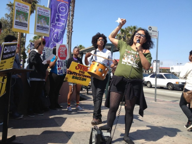 Students rally against the LAUSD ticketing system for minors.