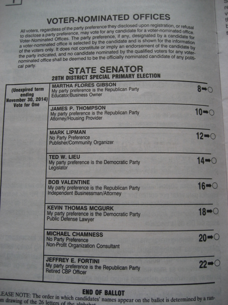 On the open primary ballot, candidates of all parties are listed randomly.