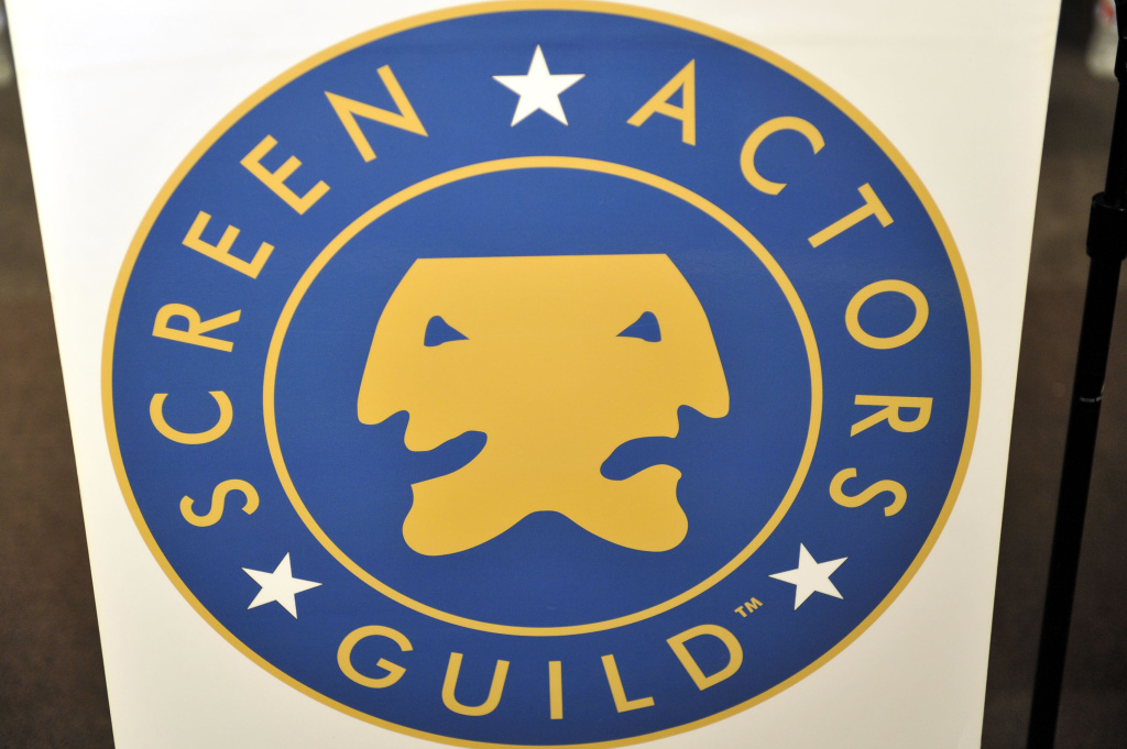 The Screen Actors Guild logo on display at the staged reading of events of the heart