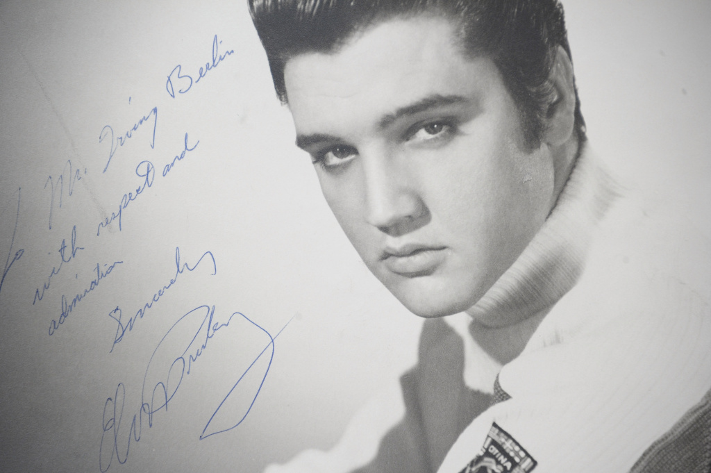 An original photograph of Elvis Presley autographed and inscribed to songwriter and compose Irving Berlin on auction at Gotta Have It! store on March 21, 2012 in New York City.